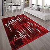 Paco Home Designer Teppich Modern Trendiger Kurzflor Teppich in Rot Creme Meliert, Grösse:190x280...