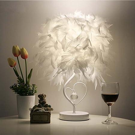 Elegant White Feather Table Lamp Shades Lampshade Bedside Light Desk Decor L5V1
