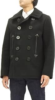 William Gibson Men's Slim Cut Pea Coat Black Wool Overcoat BR12394