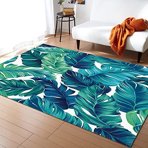 Alfombras de Hojas Verdes de Palma de Hojas Tropicales para alfombras de Dormitorio y alfombras para la Sala de Estar del hogar Alfombra para el hogar Junto a la Cama-L