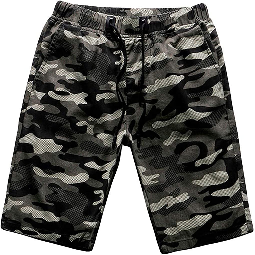 Outdoors Shorts Forthery Men's Active Athletic Performance Shorts Summer Camouflage Pocket Overalls Shorts Pants(Army Green,L=30)