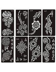 Tattoo sjablonen sjabloon set A 8 vellen henna en bloemen design geschikt voor henna, glitter tattoo en airbrush tattoo
