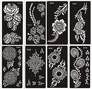 Tattoo Schablonen Vorlage Set A 8 Sheets Henna und Blumen De