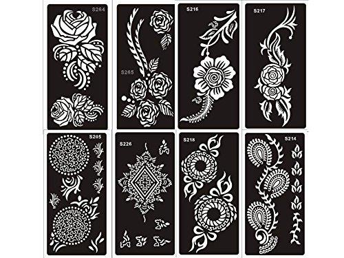 8 fogli Mehndi Tattoo Stencil Mehndi Tatuaggi all'hennè Set A - Usa e getta - Per Tatuaggio all'henné, scintillio tatuaggio e airbrush tatuaggio