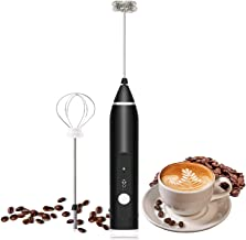Tobeape® Milk Frother, Electric Handheld Foam Maker 3 Speeds Egg Beater Drink Mixer with 2 Spring Whisk Heads, USB Recharg...