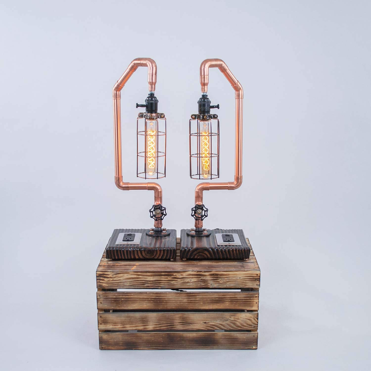 Encaged Copper Pipe Bedside USB lowest Lowest price challenge price with Lamp