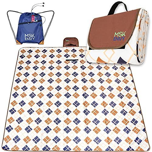 MSK ENVY Grosse XXL-Picknickdecke – 200 x 200 cm – Wasserdicht isolierte beschichtet Stranddecke – Bunt kariert – Gepolstert und Fleece – Ideal für Camping, Strand, Outdoor – inkl. Tragetasche