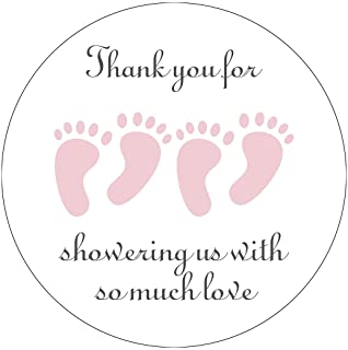 MAGJUCHE Pink It's Twins Thank You for Coming Baby Shower Stickers, Two Girls Little Feet Party Favor Stickers, 2 Inch, 4...