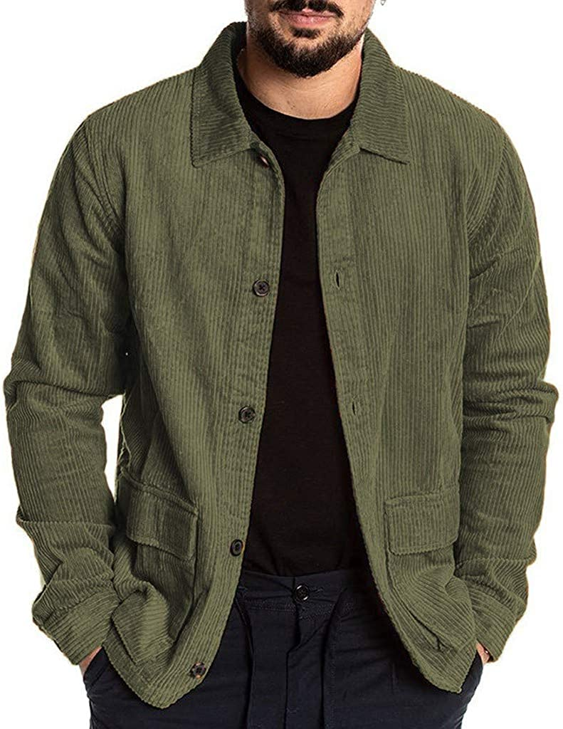 F_Gotal Mens Corduroy Shirt Button Down Long Sleeve Vintage Casual Fall Tops Slim Fit Casual Warm Shirts with Pockets