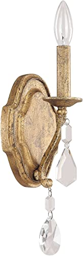 discount Capital Lighting 1616AG-CR online Blakely 1-Light Wall Sconce, Antique Gold online Finish with Clear Crystal Accents outlet sale