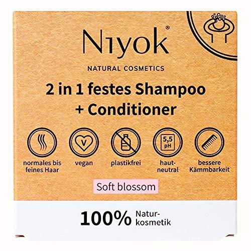 Niyok® 2 in 1 festes Shampoo und Conditioner   hautneutral pH 5,5 vegan plastikfrei   normales bis feines Haar   wie Haarseife Bio Naturkosmetik ohne Plastik   Soft blossom (80g)