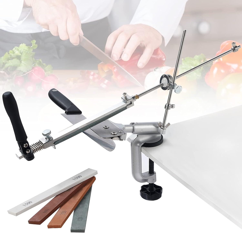 Afilador Cuchillos, PaNt Afilador de Cuchillos Profesional Manual con 4 Piedras de Afilar Afilador de Cuchillos de Ángulo Fijo Herramientas de Afilado de Cocina Profesional, Diseño Seguro
