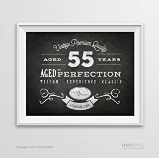 Andaz Press Milestone Birthday Wall Art Poster Signs, 55th Birthday Gifts, Decorations and Party Decor, Vintage 55 Years Chalkboard Print, 1-Pack