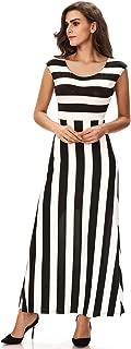 Women's Elegant Vertical Striped Long Party Dress Tank Maxi Dress