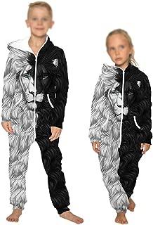 weiwei Boys Girls Sleepwear Animal Onesie Hoodie 3D Lion Print Jumpsuit Stylish Printed One Zip Playsuit Hooded Autumn Warm Pajama Plus Size Casual Wear Baseball Uniform,Lion,L