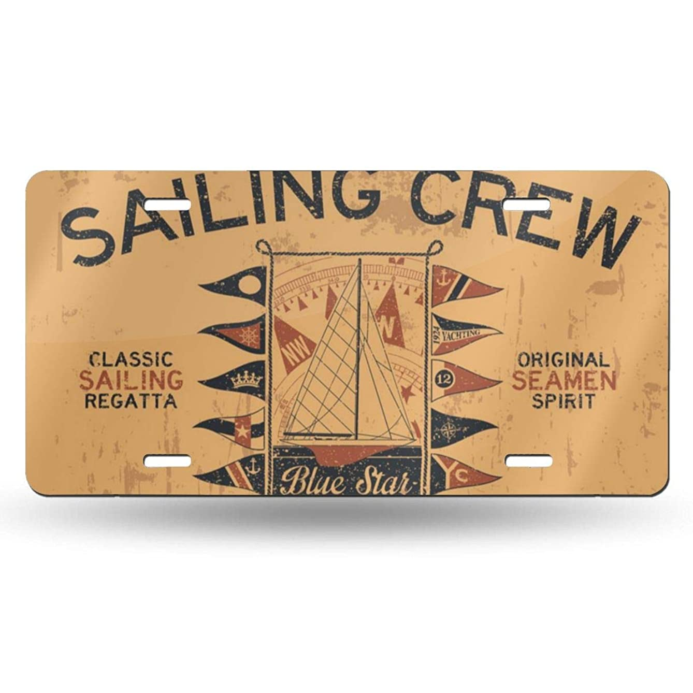 NGHFJSUY Atlantic Ocean Sailing Crew Yacht Racing License Plate Decorative Metal Card Personality 6