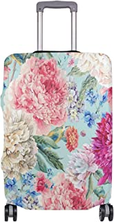 Mydaily Watercolor Flower Floral Luggage Cover Fits 28-29 Inch Suitcase Spandex Travel Protector L