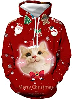 Men's Christmas Long Sleeve Hoodie for Role-Play Party(S,Ugly Costume Tee)