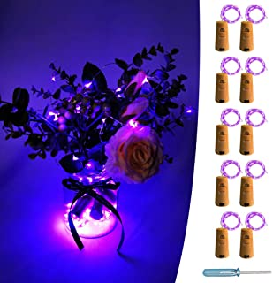 UNIQLED 10 Packs 20 LED Wine Bottle Cork Starry String Lights Battery Operated Fairy Night Wire Lights for DIY Wedding Decor Party Christmas Holiday Decoration (Purple)