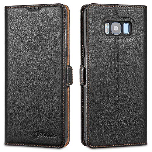 Jenuos Handyhülle für Samsung Galaxy S8 Plus Hülle Leder, Handytasche Echtleder mit Magnetverschluss Kartenfach kompatibel mit Samsung Galaxy S8 Plus(6,2 Zoll) – Schwarz(S8P-DK-BK)