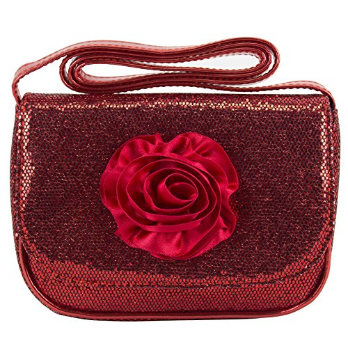 BJX Mini Sequin Sparkle Girls Red Rose Crossbody Bag Purse