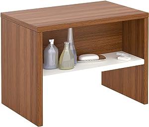 IDIMEX Table de Chevet Dion, Table de Nuit casier avec 1 Niche, en mélaminé Couleur Noyer et Blanc Mat