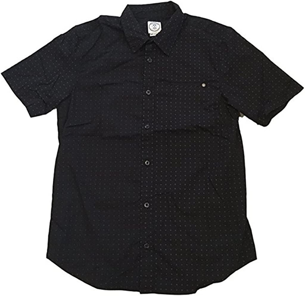 Voyager Mens Button Down Short Sleeve Flyer Shirt (X-Large, Black)