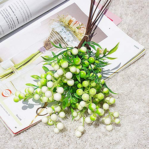 RB 30Pcs Artificial Berries Stamens Decor for DIY Garland and Holiday Ornaments, Christmas Artificial Berry with Stems leaves for Home wedding Decor and Festival