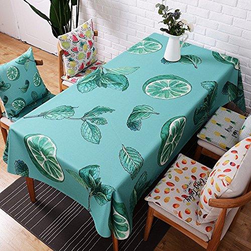 HXC Home 110*110 cm Vert citron scandinave moderne rustique Country INS Nappe en coton et lin à manger Bureau Jardin Rectangulaire carré Non-ironing respectueux de l'environnement chemin de table