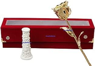 HealthNode 11-inch 24K Gold Dipped Rose in Beautiful Velvet Gift Box with White Vase