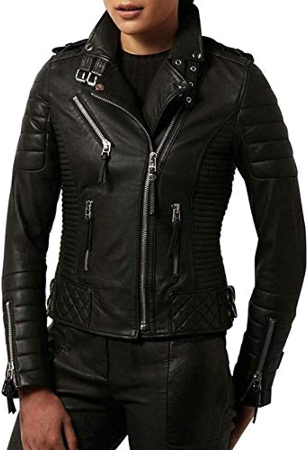New Fashion Style Women's Leather Jackets Black A1_