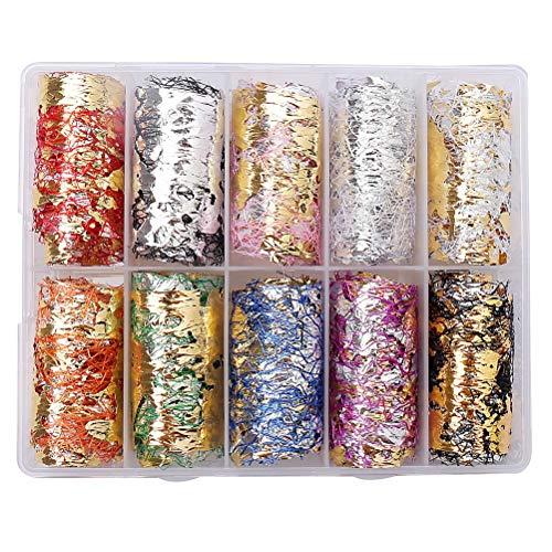 SUMAJU 10 Rolls Mesh Nail Sticker, 3D Net Line Tape Foil Nail Art Decorations Adhesive Silk Nail Art Stickers DIY Gold Silver Nail Decals for Nail Supplies