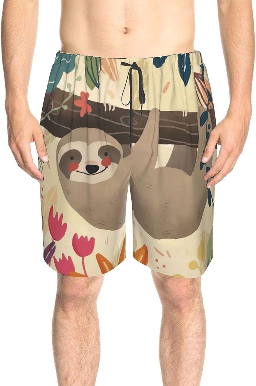 Men's Swim Shorts Sloth Hanging On Tree Beach Board Shorts Drawstring Elastic Beach Swim Trunk with Mesh Lining
