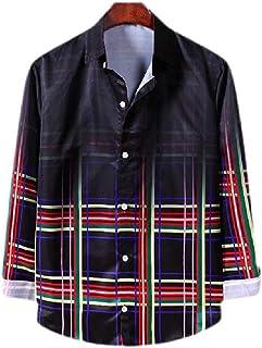 UUYUK Men's Fashion Plaid Gradient Color Long Sleeve Button Front Shirt