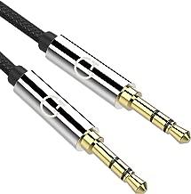 Cable de Audio,Gritin Cable Jack 3.5mm y Macho Macho de Nylon Trenzado Premium Cable Aux Auxiliar para Auriculares, iPods, iPhones, iPads, Audio de Coche, Smartphones, MP3 y Más - Negro(1.5M)