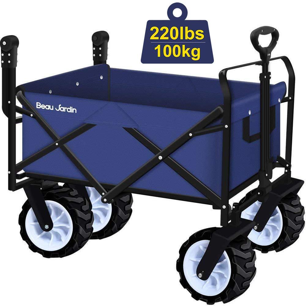 BEAU JARDIN Carretillas de Carro Plegable con Carro Plegable de Mano Carro transporte para jardín Carro para playa 100 kg de capacidad Azul Actualizar: Amazon.es: Jardín