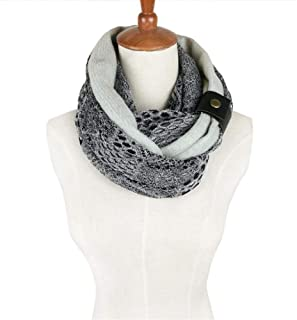 NJTSXLM Hooded Scarf Neck Warmer Cowl Scarf,Autumn Women Fashion Scarf Lace Cotton Infinity Circle Loop Scarf (Color : Gray)