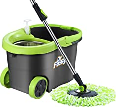 DR Fussy Spin Mop Bucket System Stainless Steel Basket W/4 Microfiber Mop Heads