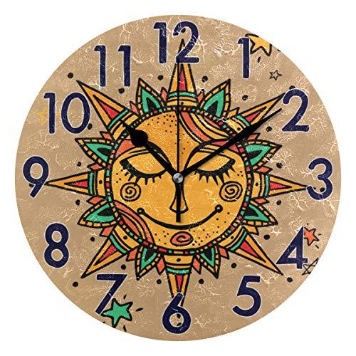 Chic Houses Reloj de Pared Redondo con diseño de Mandala In
