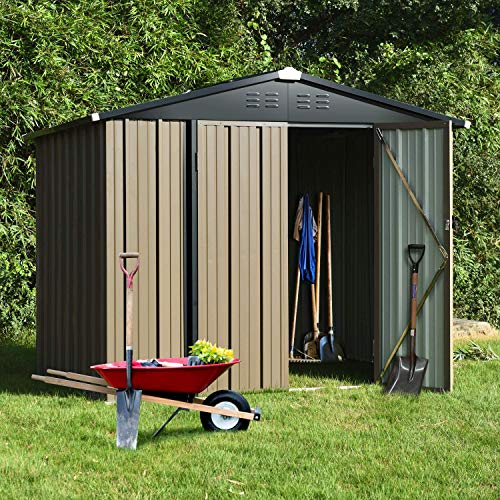 8' x 6' Outdoor Storage Sheds, Metal Utility Storage House for Backyard Patio Furniture Garden Lawn Tool, with Lockable Door