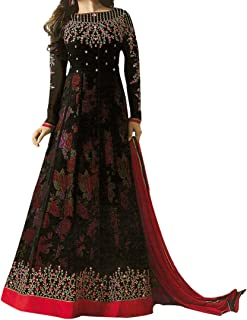 Ethnic Empire Women's Georgette Semi Stitch Salwar Suit, Free Size (Black, Ethnic_ER110102)