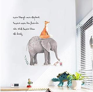 Pintar animal de dibujos animados lindo etiqueta de la pared sentado en la letra del elefante