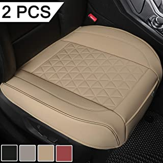 Black Panther 2 PCS Luxury PU Leather Car Seat Covers Protectors for Front Seat Bottoms,Compatible with 90% Vehicles (Sedan SUV Truck Van MPV) - Beige (21.26×20.86 Inches)
