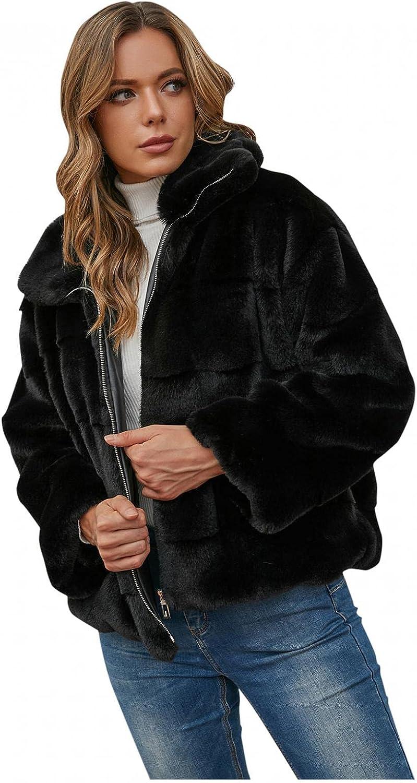 Womens Faux-Fur Thicken Gilet Fashion Long Sleeve Waistcoat Warmer Faux Furry Jacket Coat Plus Size Outerwear Trench