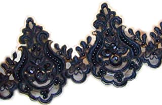5''Black Embroidery Beaded sequined lace trim gorgeous lace trim by the yard for fabric Millinery accent motif dress decoration bridal lace wedding lace trim