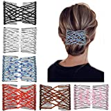 6 Pcs Magic Hair Combs, Youthful Vintage Stretch Beaded Hair Combs Elastic Pearls Hair Clips Stretchy Bead Hairpins Double Slides Hair Combs for Women Ladies Girls DIY Hair Styling Accessories (6)