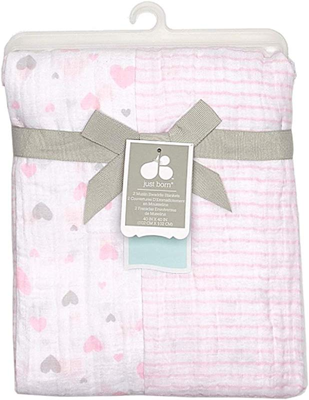 Just Born Baby 2 Pack 100 Cotton Breathable Muslin Swaddle Blankets Pink Hearts Stripes