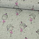 Jersey Stoff meliert grau Little Girl Glitzer pink