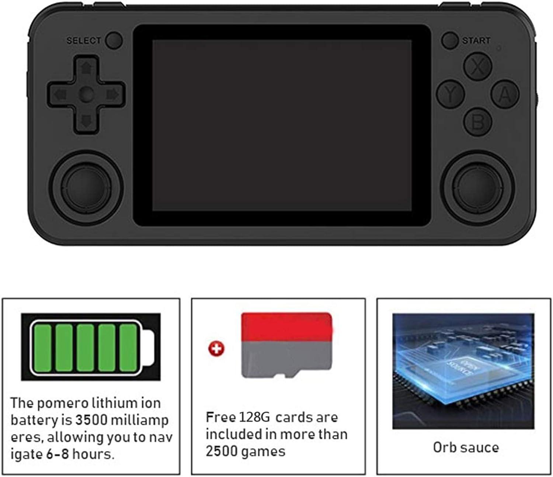 Console de Jeu R/étro Portable RG351P Syst/ème Open Source Jeu vid/éo Joueur de Jeu /à /écran IPS de 3,5 Pouces Violet Haut-Parleur st/ér/éo /à Double Haut-Parleur KUTO Console de Jeu Portable 128G