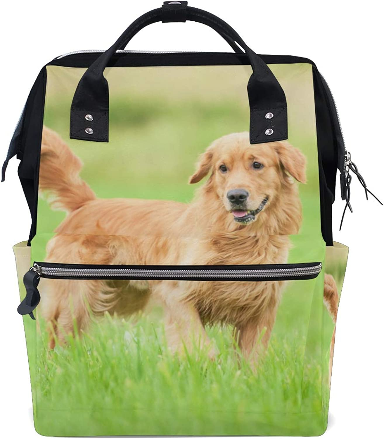ColourLife Diaper bag Backpack golden Retriever Running On Grass Tote Bag Casual Daypack Multifunctional Nappy Bags